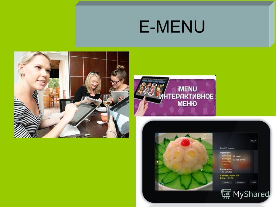 E-MENU Электронное меню Или Интерактивное меню
