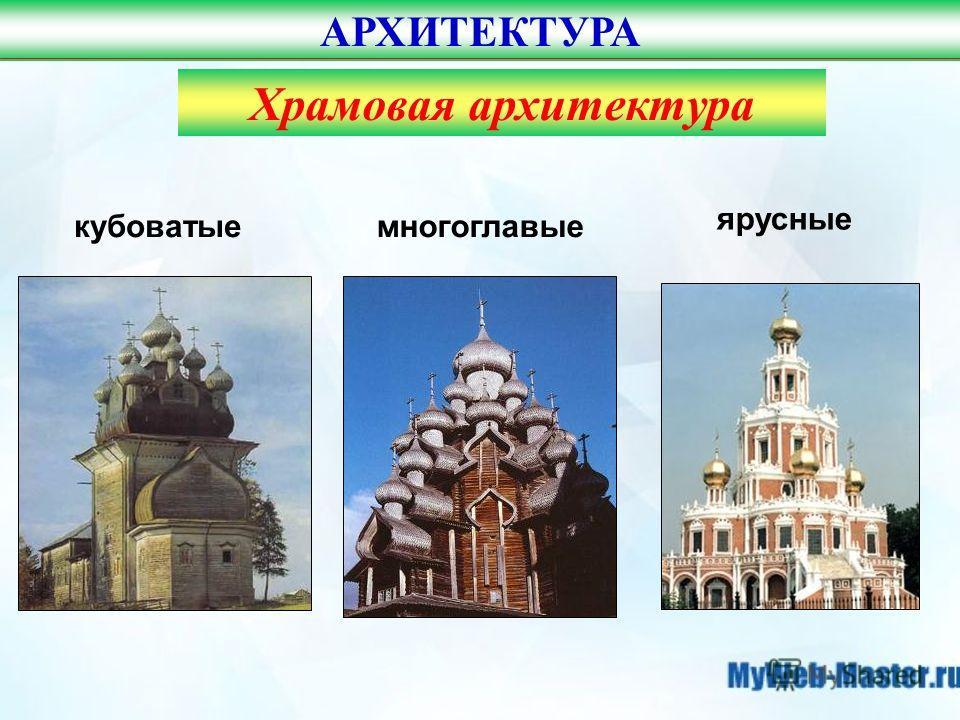 АРХИТЕКТУРА кубоватыемногоглавые ярусные Храмовая архитектура