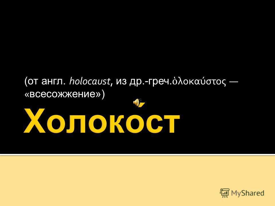 (от англ. holocaust, из др.-греч. λοκαύστος «всесожжение»)