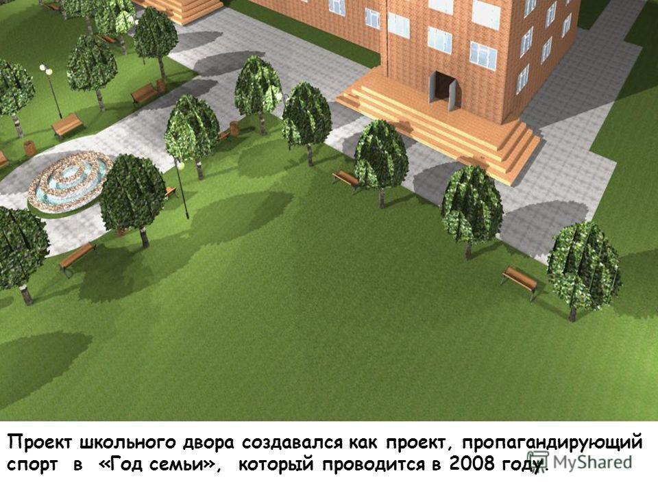 Проект школьного двора создавался как проект, пропагандирующий спорт в «Год семьи», который проводится в 2008 году.