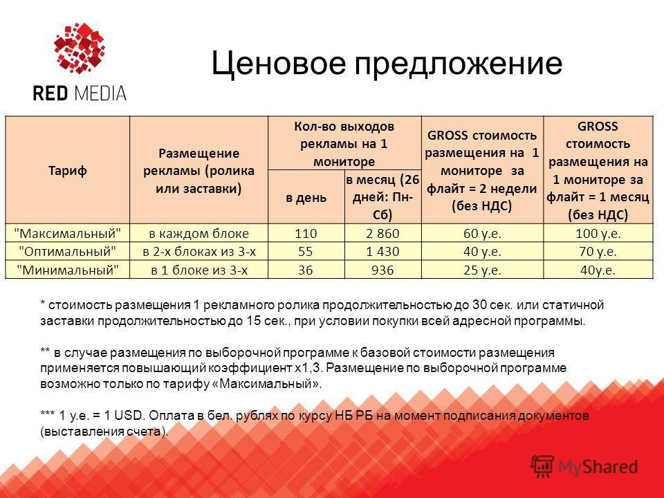 Ценовое предложение Тариф Размещение рекламы (ролика или заставки) Кол-во выходов рекламы на 1 мониторе GROSS стоимость размещения на 1 мониторе за флайт = 2 недели (без НДС) GROSS стоимость размещения на 1 мониторе за флайт = 1 месяц (без НДС) в ден