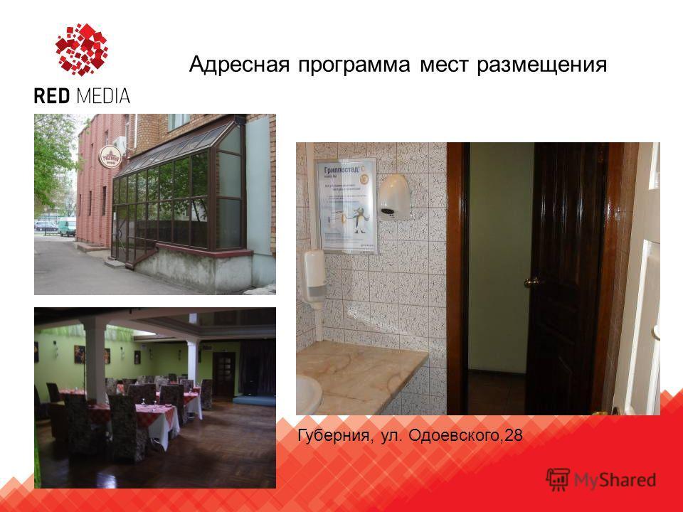Губерния, ул. Одоевского,28 Адресная программа мест размещения