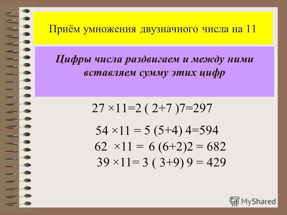 Приём умножения двузначного числа на 11 27 ×11=2 ( 2+7 )7=297 Цифры числа раздвигаем и между ними вставляем сумму этих цифр 54 ×11 = 39 ×11= 5 (5+4) 4=594 62 ×11 =6 (6+2)2 = 682 3 ( 3+9) 9 = 429