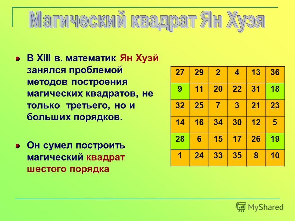 В XIII в. математик Ян Хуэй занялся проблемой методов построения магических квадратов, не только третьего, но и больших порядков. Он сумел построить магический квадрат шестого порядка 2729241336 91120223118 3225732123 14163430125 28615172619 12433358