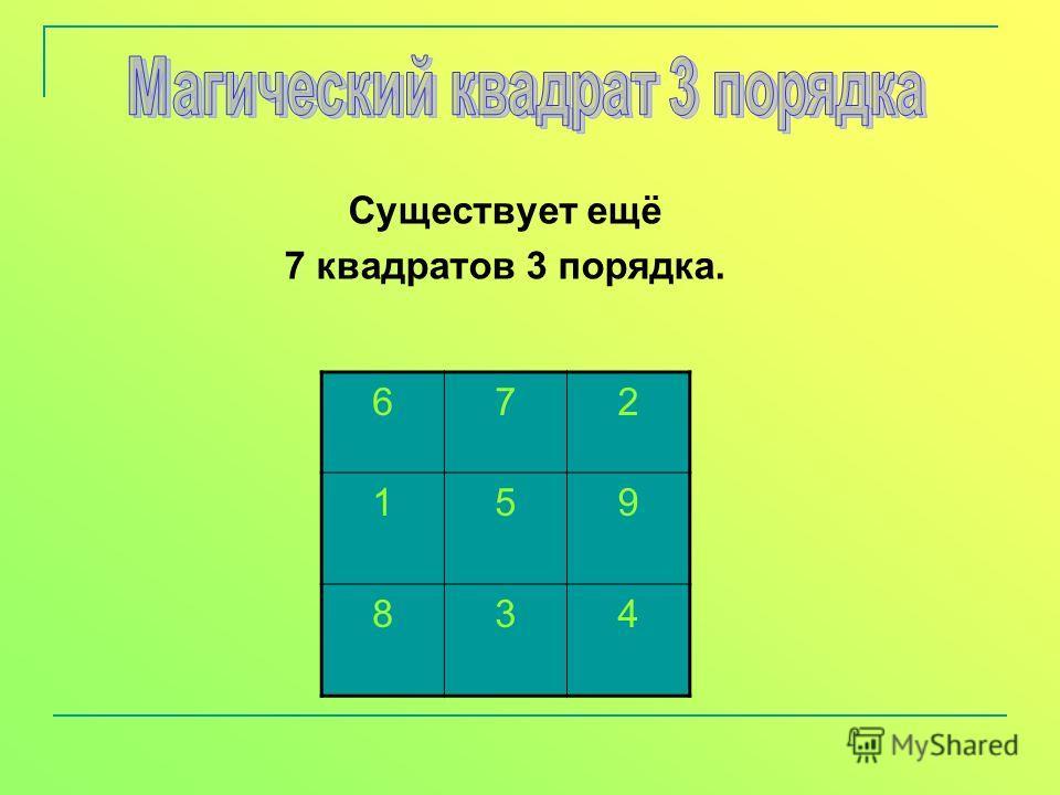 Существует ещё 7 квадратов 3 порядка. 672 159 834