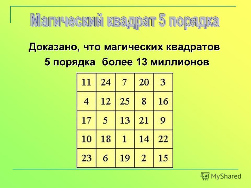 Доказано, что магических квадратов 5 порядка более 13 миллионов 5 порядка более 13 миллионов