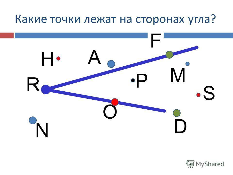 P N O S D Какие точки лежат на сторонах угла ? M H R А F