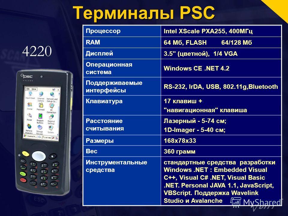 Терминалы PSC 4220 Процессор Intel XScale PXA255, 400МГц RAM 64 Мб, FLASH64/128 Мб Дисплей 3.5'' (цветной), 1/4 VGA Операционная система Windows CE.NET 4.2 Поддерживаемые интерфейсы RS-232, IrDA, USB, 802.11g,Bluetooth Клавиатура 17 клавиш +