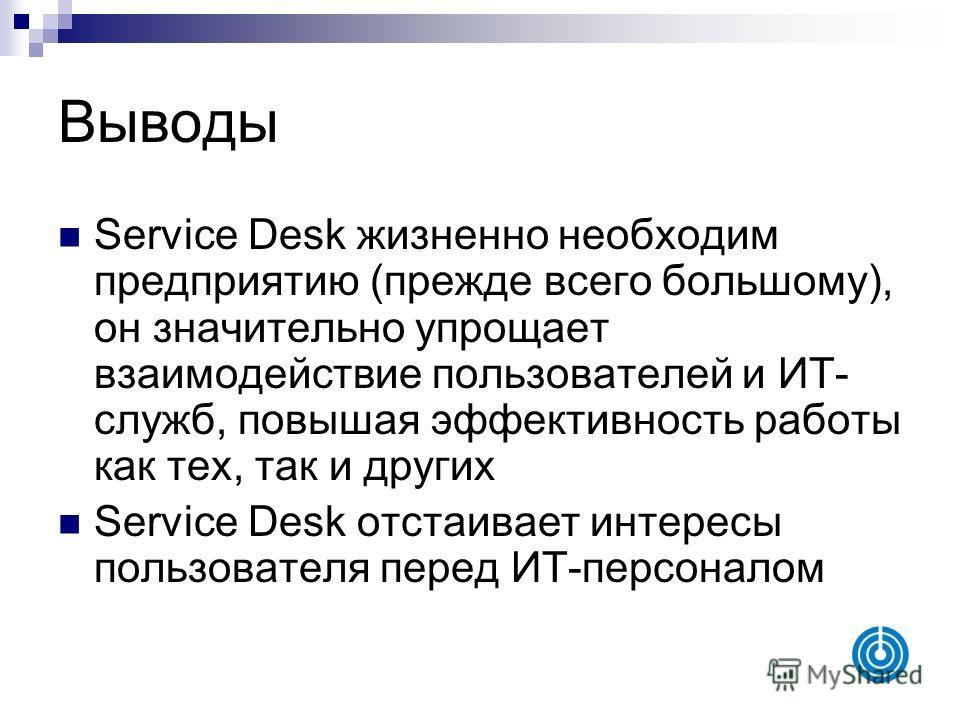Выводы Service Desk жизненно необходим предприятию (прежде всего большому), он значительно упрощает взаимодействие пользователей и ИТ- служб, повышая эффективность работы как тех, так и других Service Desk отстаивает интересы пользователя перед ИТ-пе