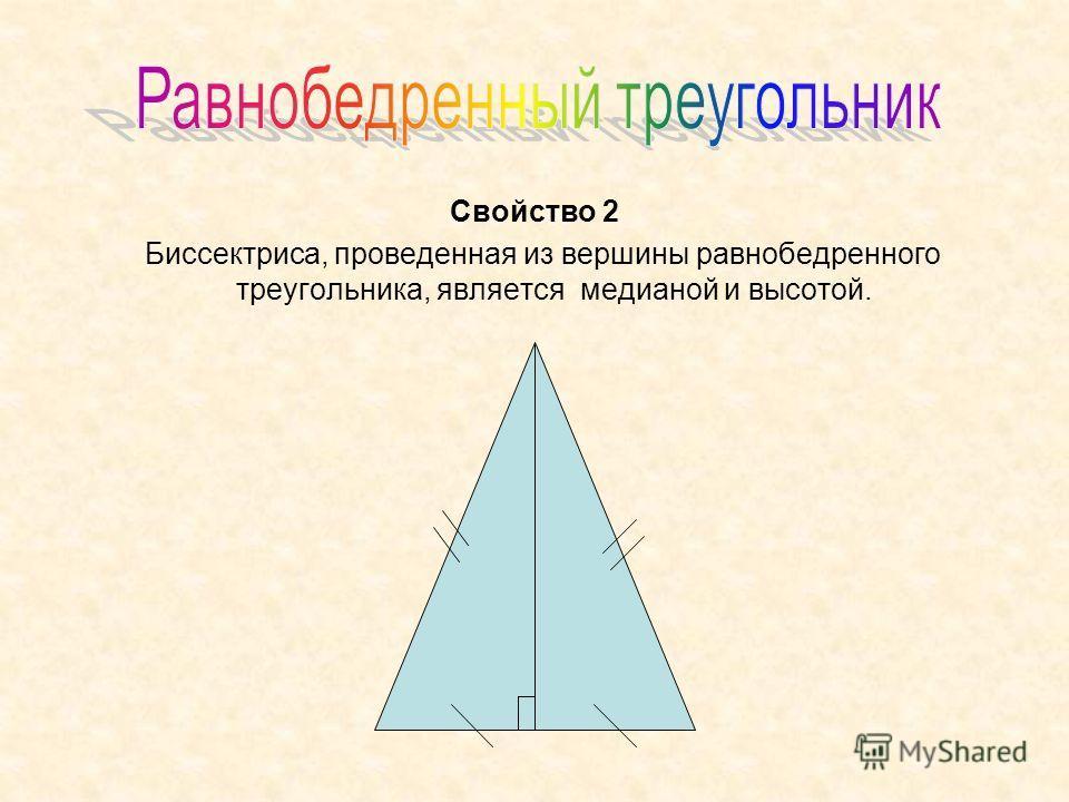 Свойство 2 Биссектриса, проведенная из вершины равнобедренного треугольника, является медианой и высотой.
