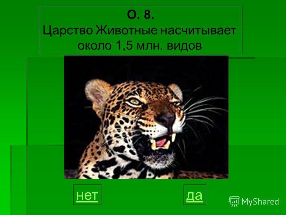 О. 8. Царство Животные насчитывает около 1,5 млн. видов данет