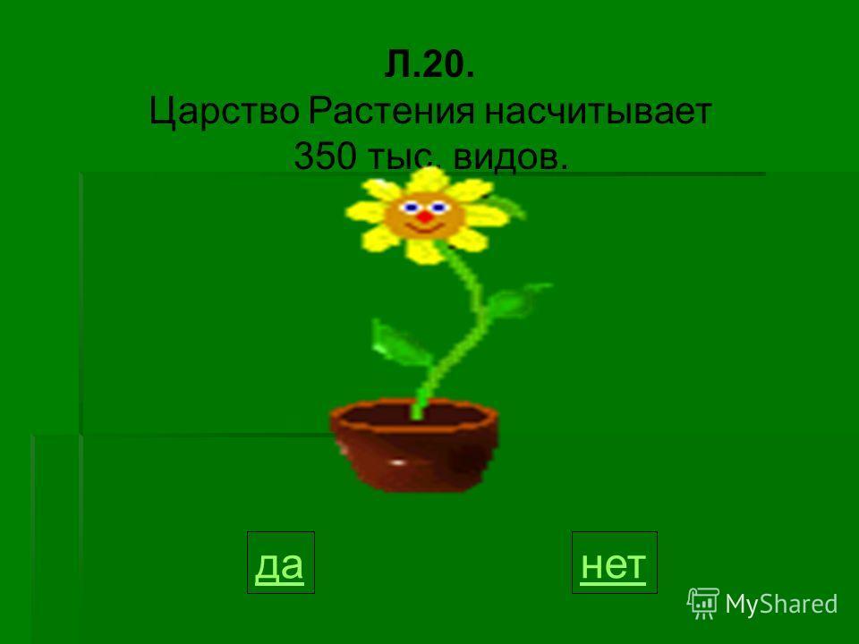 Л.20. Царство Растения насчитывает 350 тыс. видов. данет