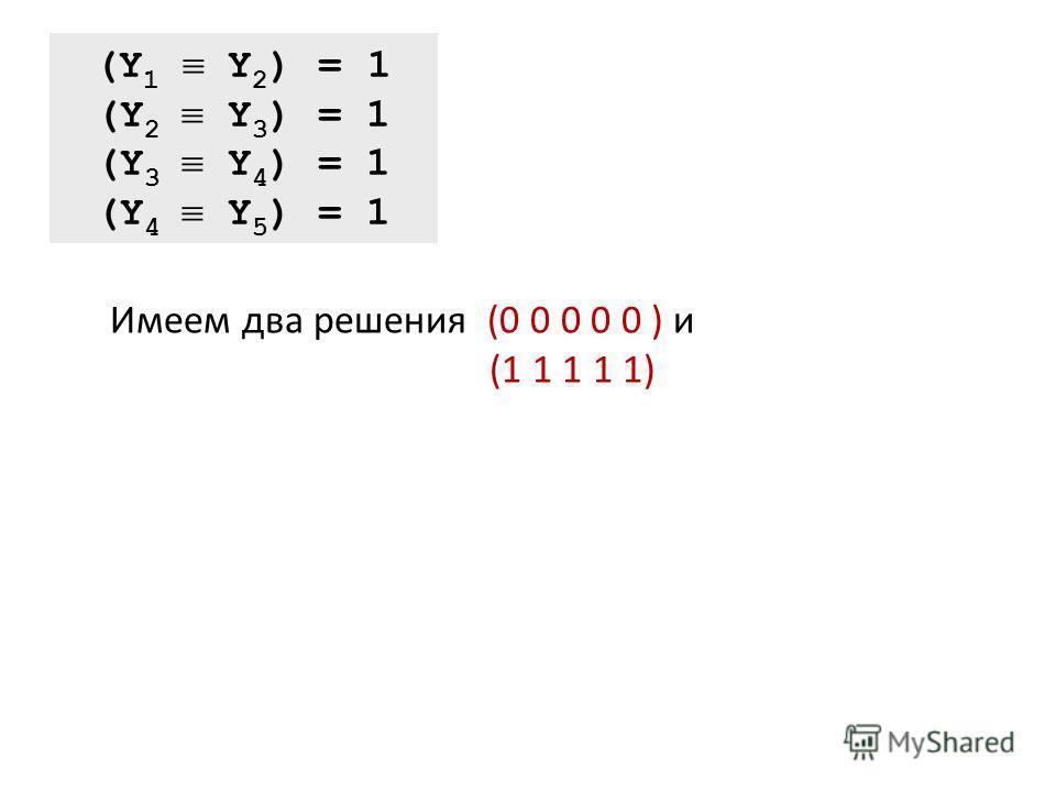 (Y 1 Y 2 ) = 1 (Y 2 Y 3 ) = 1 (Y 3 Y 4 ) = 1 (Y 4 Y 5 ) = 1 Имеем два решения (0 0 0 0 0 ) и (1 1 1 1 1)