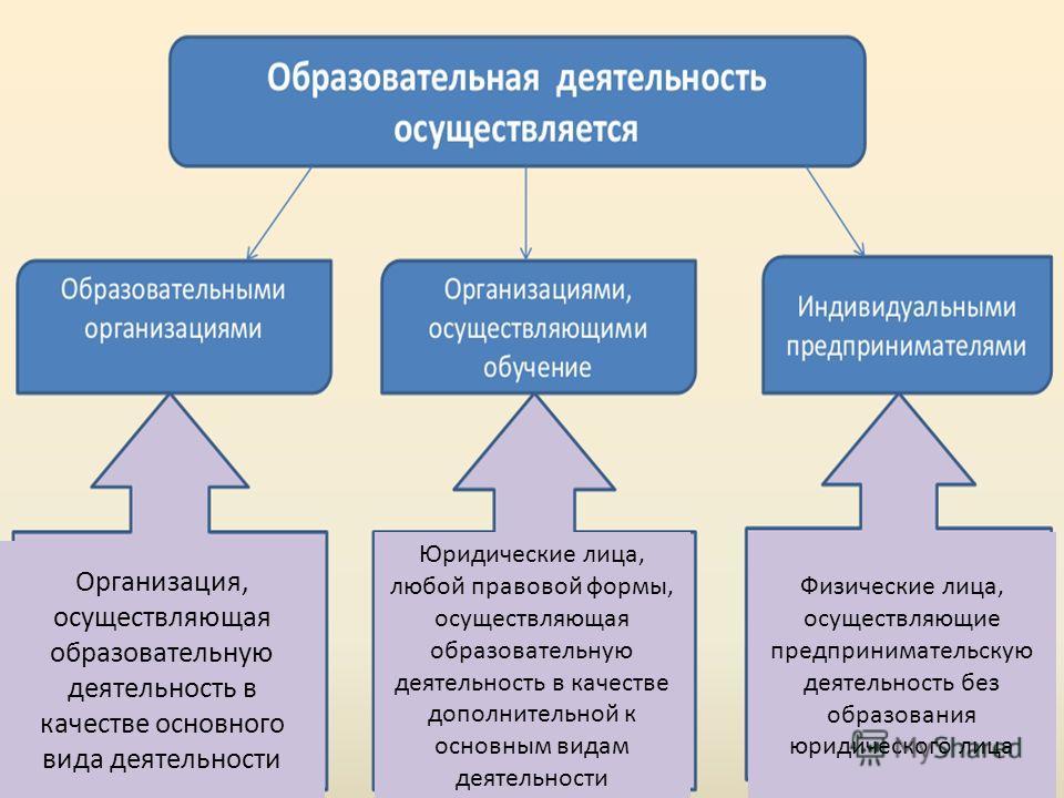 Организация, осуществляющая образовательную деятельность в качестве основного вида деятельности Юридические лица, любой правовой формы, осуществляющая образовательную деятельность в качестве дополнительной к основным видам деятельности Физические лиц