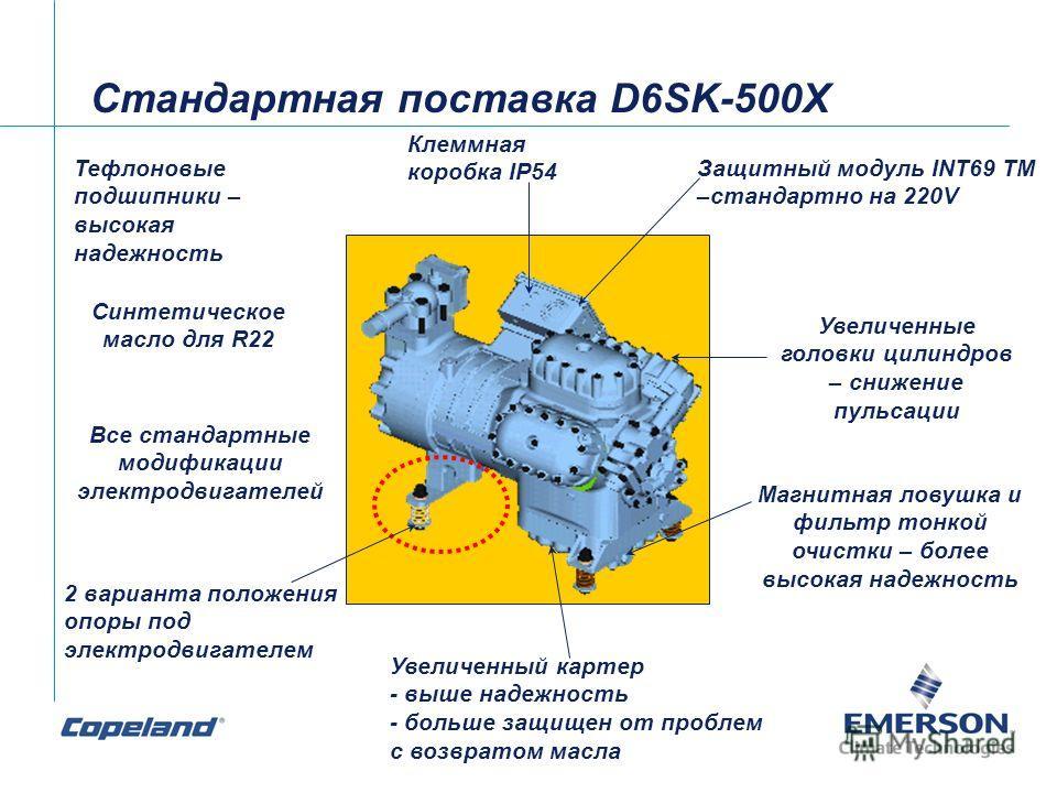 Стандартная поставка D6SK-500X Тефлоновые подшипники – высокая надежность 2 варианта положения опоры под электродвигателем Магнитная ловушка и фильтр тонкой очистки – более высокая надежность Синтетическое масло для R22 Увеличенный картер - выше наде