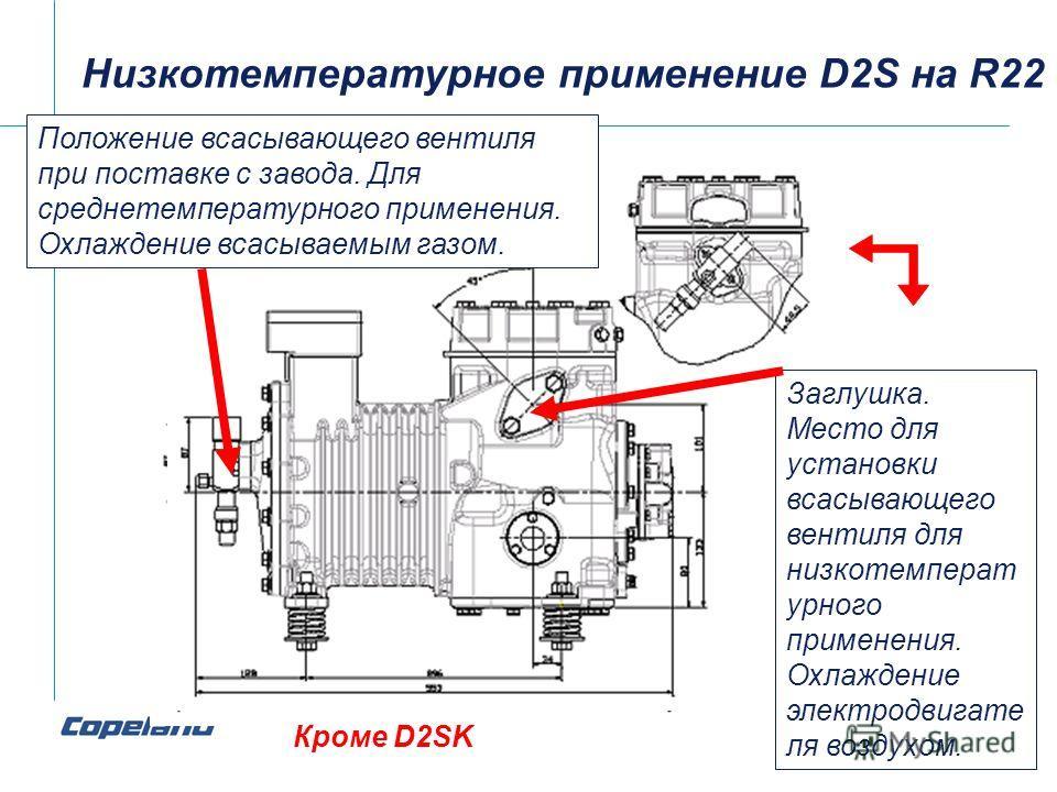 Низкотемпературное применение D2S на R22 Положение всасывающего вентиля при поставке с завода. Для среднетемпературного применения. Охлаждение всасываемым газом. Кроме D2SK Заглушка. Место для установки всасывающего вентиля для низкотемперат урного п