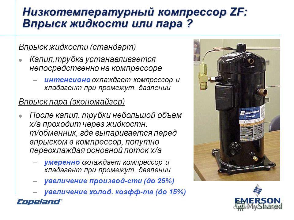 Низкотемпературный компрессор ZF: Впрыск жидкости или пара ? Впрыск жидкости (стандарт) Капил.трубка устанавливается непосредственно на компрессоре –интенсивно охлаждает компрессор и хладагент при промежут. давлении Впрыск пара (экономайзер) После ка