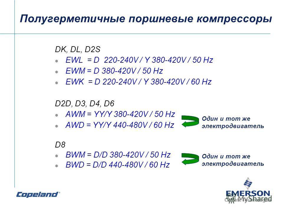 DK, DL, D2S EWL = D 220-240V / Y 380-420V / 50 Hz EWM = D 380-420V / 50 Hz EWK = D 220-240V / Y 380-420V / 60 Hz D2D, D3, D4, D6 AWM = YY/Y 380-420V / 50 Hz AWD = YY/Y 440-480V / 60 Hz D8 BWM = D/D 380-420V / 50 Hz BWD = D/D 440-480V / 60 Hz Один и т