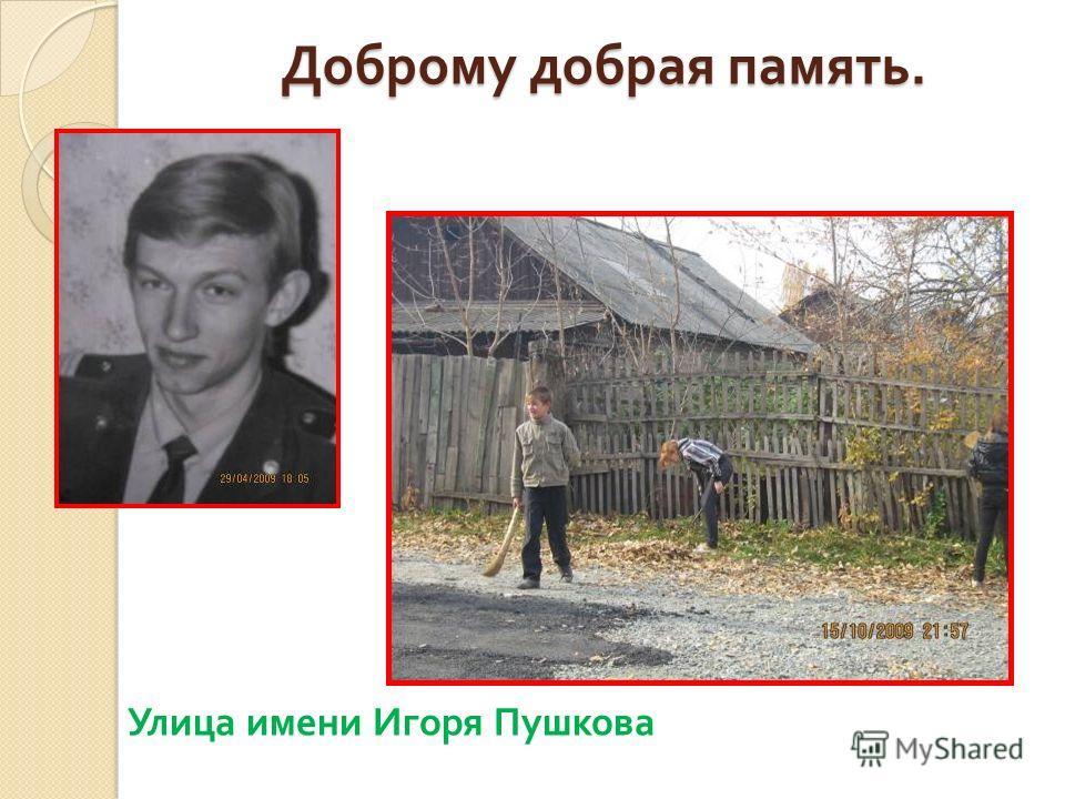 Доброму добрая память. Улица имени Игоря Пушкова