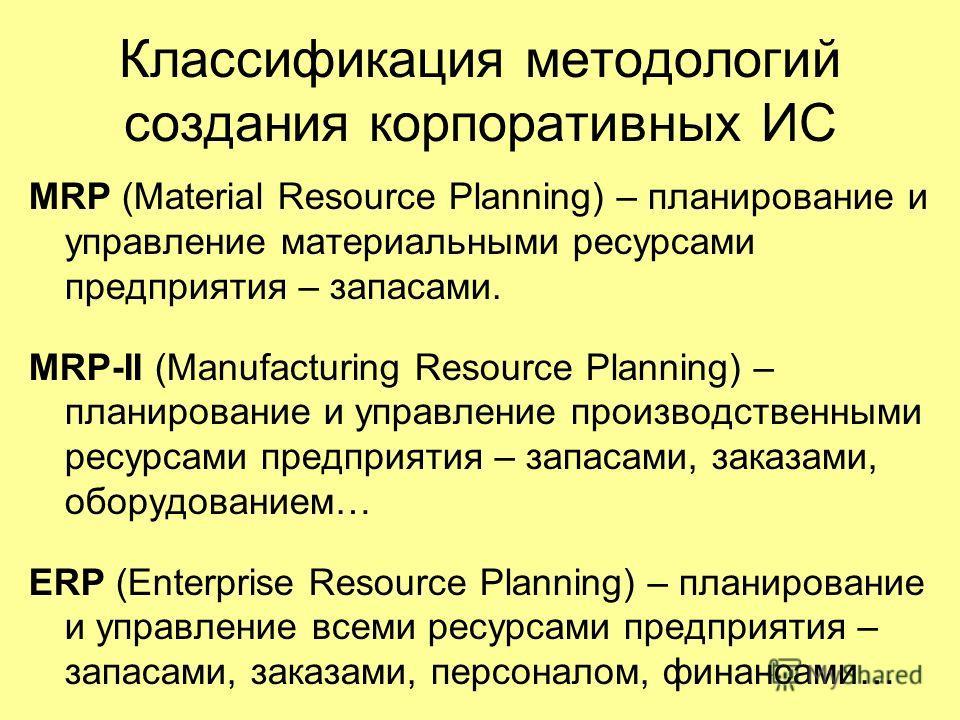 Классификация методологий создания корпоративных ИС MRP (Material Resource Planning) – планирование и управление материальными ресурсами предприятия – запасами. MRP-II (Manufacturing Resource Planning) – планирование и управление производственными ре