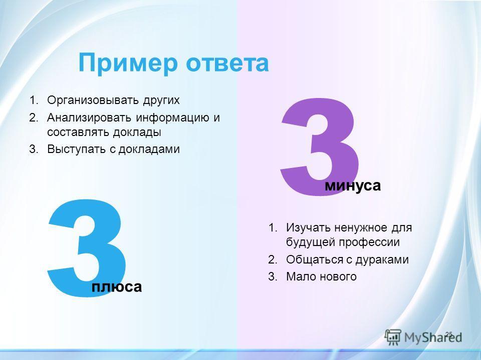 3 плюса 3 минуса Пример ответа 25 1.Организовывать других 2.Анализировать информацию и составлять доклады 3.Выступать с докладами 1.Изучать ненужное для будущей профессии 2.Общаться с дураками 3.Мало нового