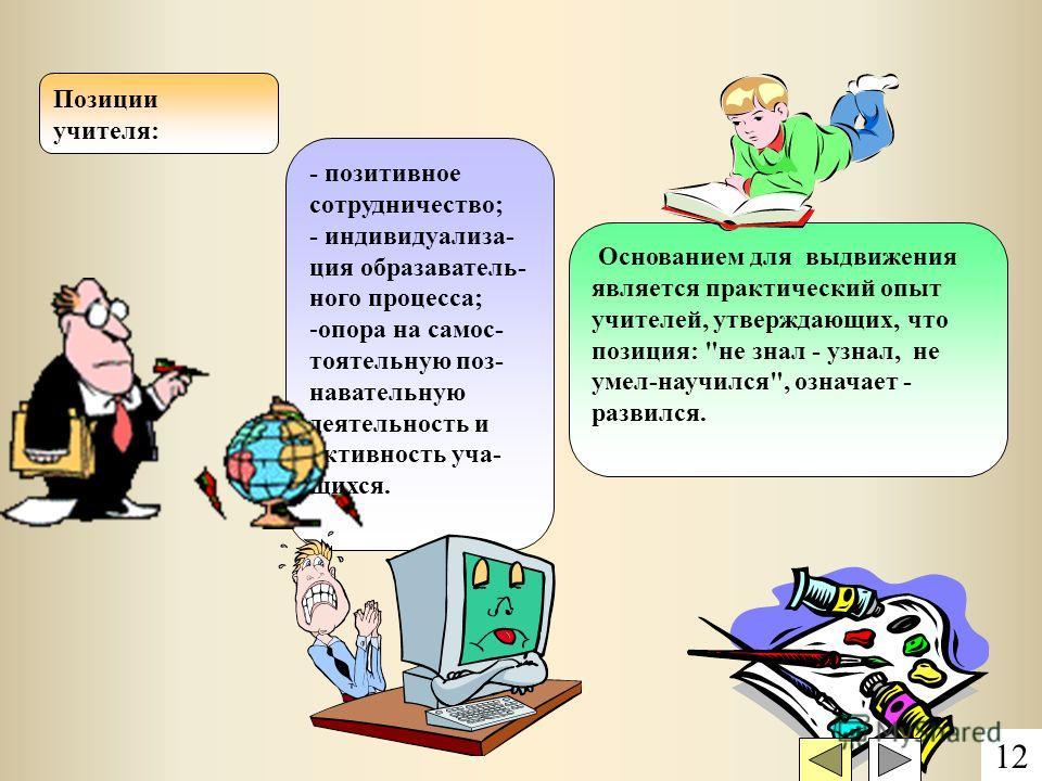 Позиции учителя: - позитивное сотрудничество; - индивидуализа- ция образаватель- ного процесса; -опора на самос- тоятельную поз- навательную деятельность и активность уча- щихся. Основанием для выдвижения является практический опыт учителей, утвержда