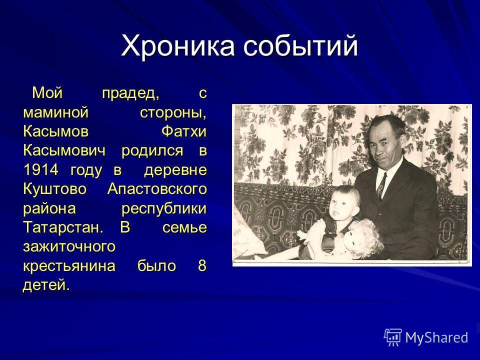 Хроника событий Мой прадед, с маминой стороны, Касымов Фатхи Касымович родился в 1914 году в деревне Куштово Апастовского района республики Татарстан. В семье зажиточного крестьянина было 8 детей. Мой прадед, с маминой стороны, Касымов Фатхи Касымови