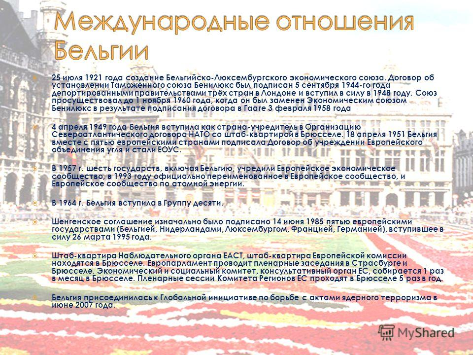 25 июля 1921 года создание Бельгийско-Люксембургского экономического союза. Договор об установлении Таможенного союза Бенилюкс был подписан 5 сентября 1944-го года депортированными правительствами трёх стран в Лондоне и вступил в силу в 1948 году. Со
