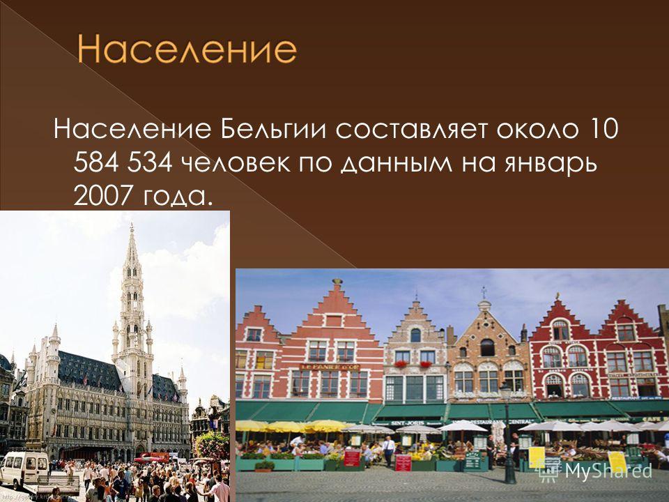 Население Бельгии составляет около 10 584 534 человек по данным на январь 2007 года.