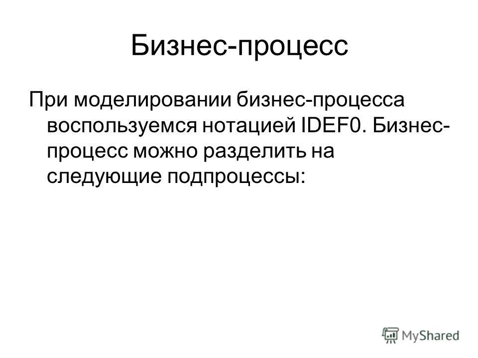 Бизнес-процесс При моделировании бизнес-процесса воспользуемся нотацией IDEF0. Бизнес- процесс можно разделить на следующие подпроцессы: