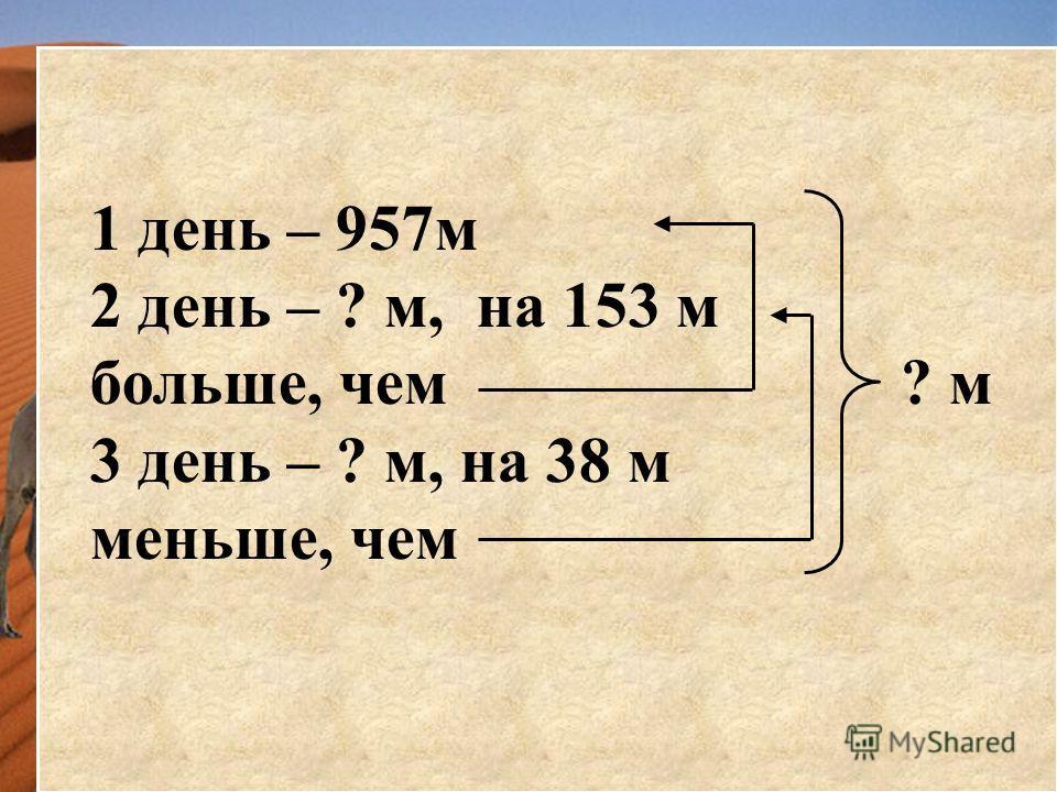 В первый день караван прошел 957 м, во второй на 153 м больше, чем в первый день. А в третий на 38 м меньше, чем во второй день. Сколько метров прошел караван за три дня?