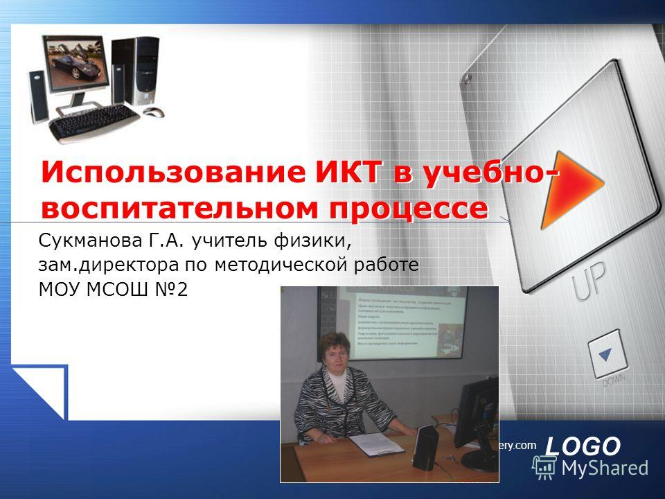 LOGO www.themegallery.com Сукманова Г.А. учитель физики, зам.директора по методической работе МОУ МСОШ 2 Использование ИКТ в учебно- воспитательном процессе