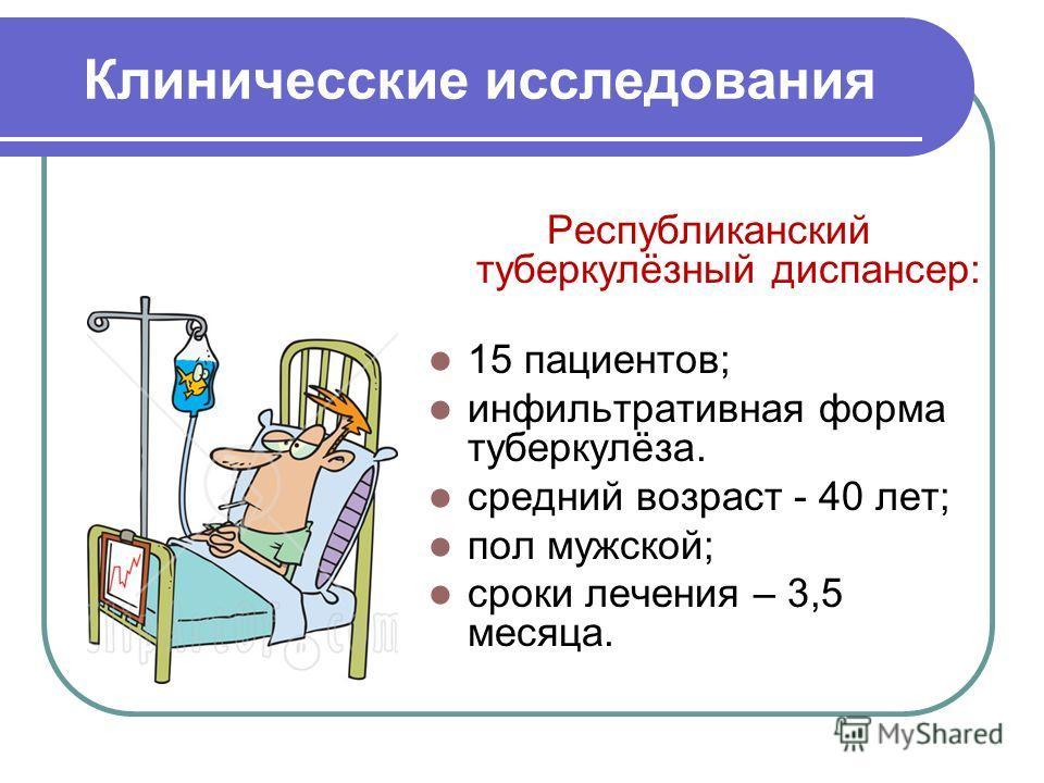 Клиничесские исследования Республиканский туберкулёзный диспансер: 15 пациентов; инфильтративная форма туберкулёза. средний возраст - 40 лет; пол мужской; сроки лечения – 3,5 месяца.