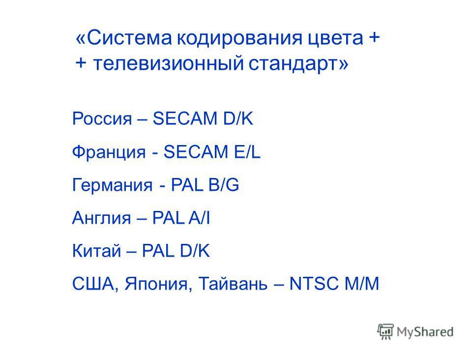 «Система кодирования цвета + + телевизионный стандарт» Россия – SECAM D/K Франция - SECAM E/L Германия - PAL B/G Англия – PAL A/I Китай – PAL D/K США, Япония, Тайвань – NTSC M/M