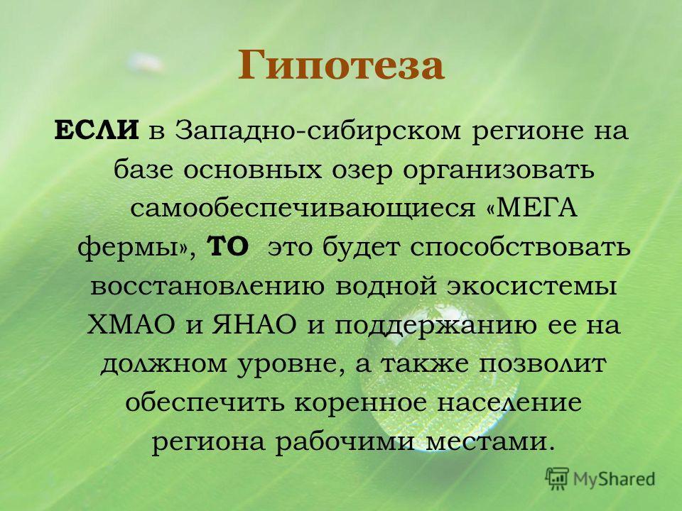 Гипотеза ЕСЛИ в Западно-сибирском регионе на базе основных озер организовать самообеспечивающиеся «МЕГА фермы», ТО это будет способствовать восстановлению водной экосистемы ХМАО и ЯНАО и поддержанию ее на должном уровне, а также позволит обеспечить к