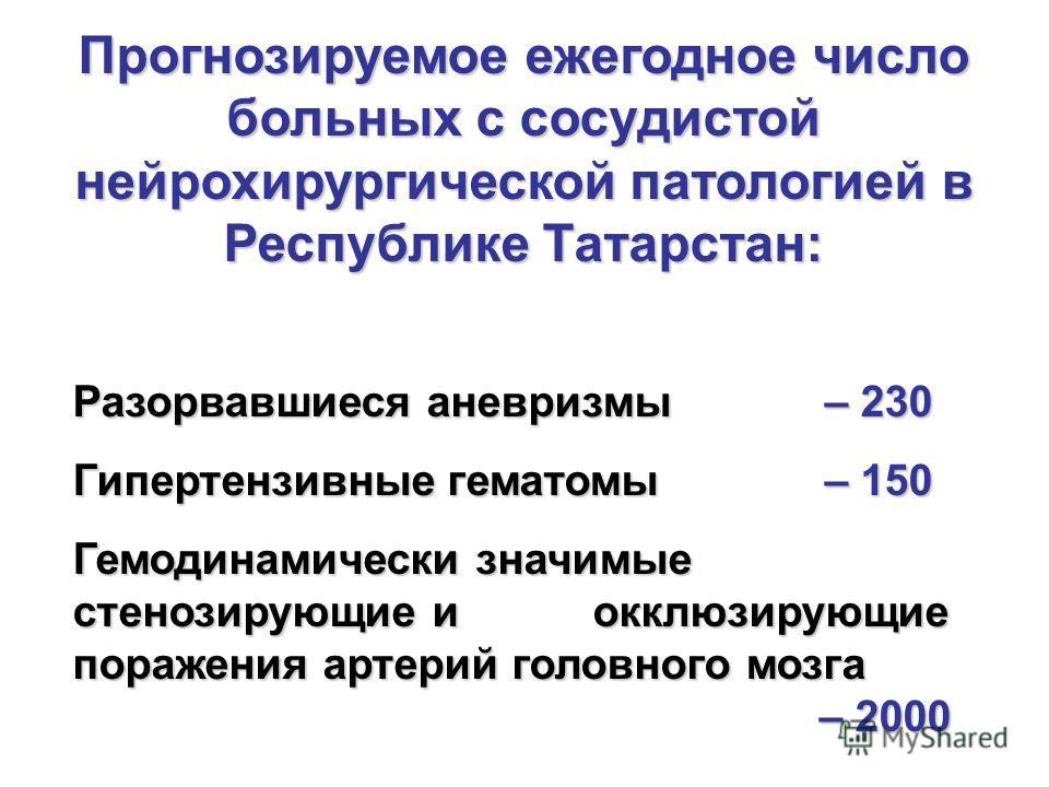 Прогнозируемое ежегодное число больных с сосудистой нейрохирургической патологией в Республике Татарстан: Разорвавшиеся аневризмы – 230 Гипертензивные гематомы – 150 Гемодинамически значимые стенозирующие и окклюзирующие поражения артерий головного м