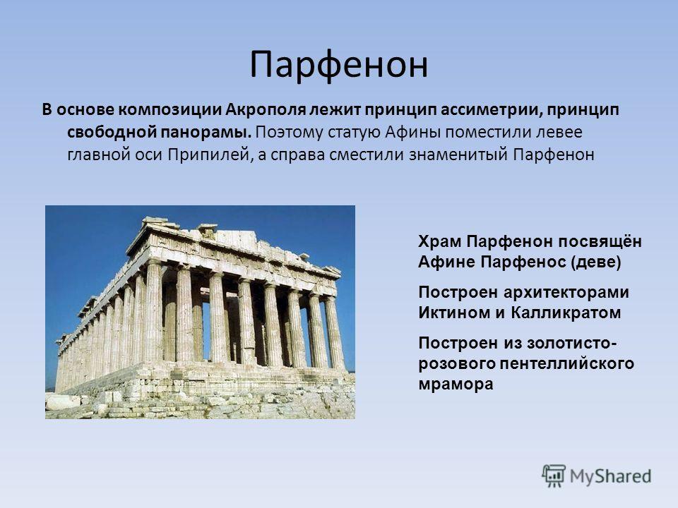 Парфенон В основе композиции Акрополя лежит принцип ассиметрии, принцип свободной панорамы. Поэтому статую Афины поместили левее главной оси Припилей, а справа сместили знаменитый Парфенон Храм Парфенон посвящён Афине Парфенос (деве) Построен архитек
