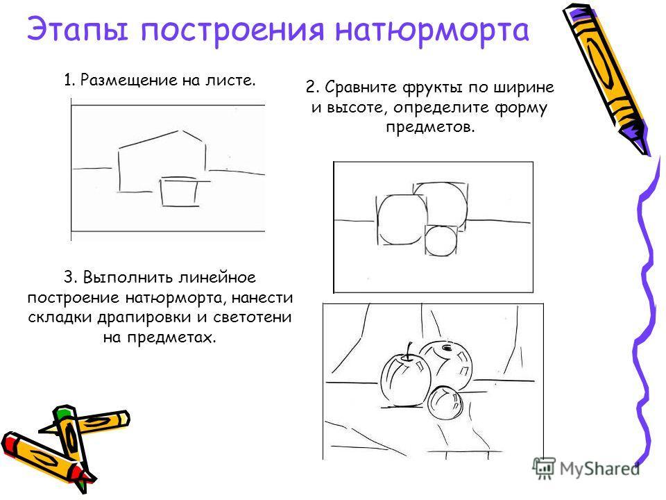 1. Размещение на листе. 2. Сравните фрукты по ширине и высоте, определите форму предметов. 3. Выполнить линейное построение натюрморта, нанести складки драпировки и светотени на предметах. Этапы построения натюрморта