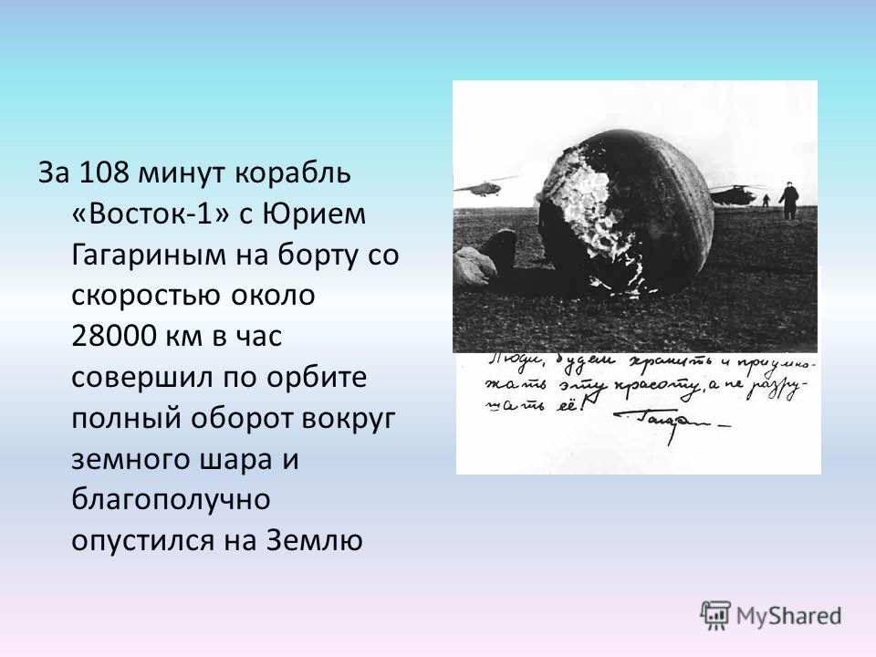 За 108 минут корабль «Восток-1» с Юрием Гагариным на борту со скоростью около 28000 км в час совершил по орбите полный оборот вокруг земного шара и благополучно опустился на Землю