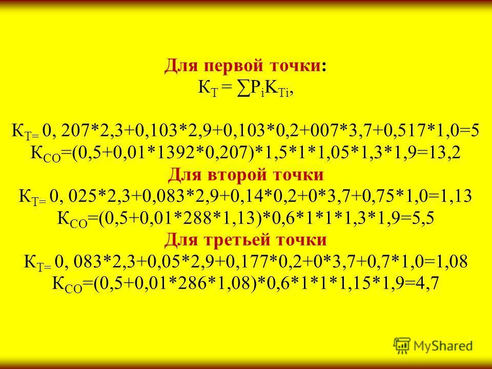 Для первой точки: К Т = P i K Ti, К Т= 0, 207*2,3+0,103*2,9+0,103*0,2+007*3,7+0,517*1,0=5 К СО =(0,5+0,01*1392*0,207)*1,5*1*1,05*1,3*1,9=13,2 Для второй точки К Т= 0, 025*2,3+0,083*2,9+0,14*0,2+0*3,7+0,75*1,0=1,13 К СО =(0,5+0,01*288*1,13)*0,6*1*1*1,