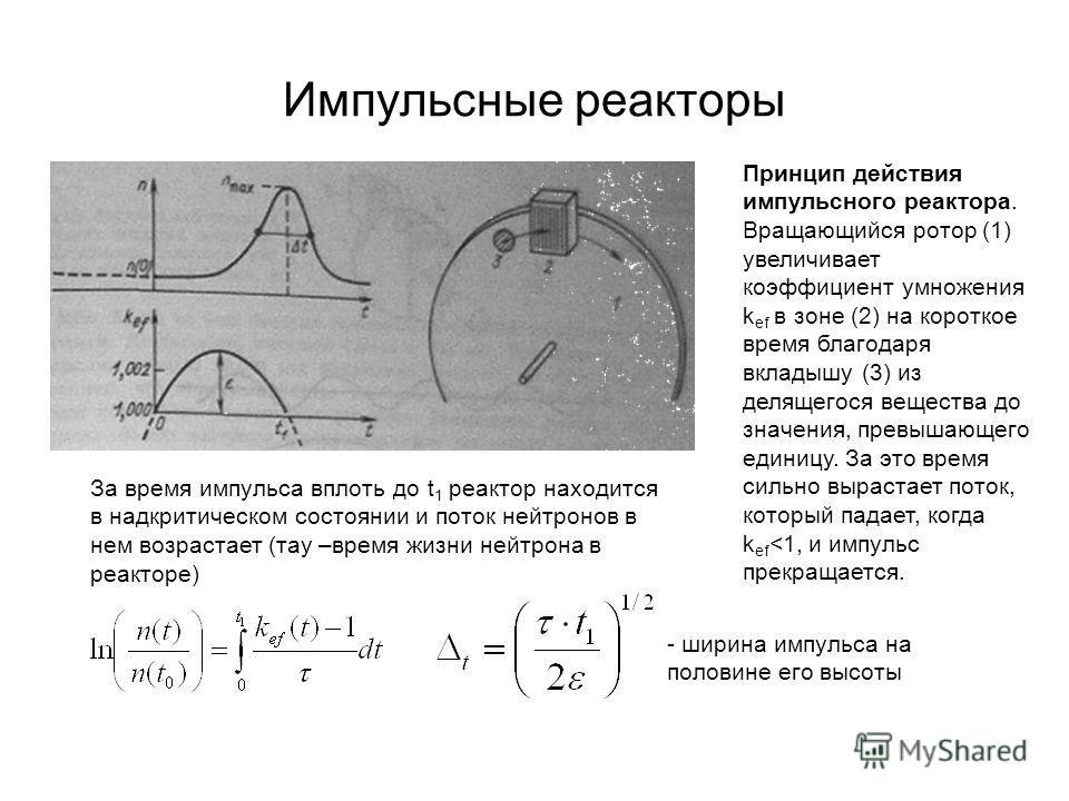 Импульсные реакторы Принцип действия импульсного реактора. Вращающийся ротор (1) увеличивает коэффициент умножения k ef в зоне (2) на короткое время благодаря вкладышу (3) из делящегося вещества до значения, превышающего единицу. За это время сильно