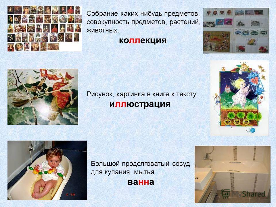 Собрание каких-нибудь предметов, совокупность предметов, растений, животных. коллекция Рисунок, картинка в книге к тексту. иллюстрация Большой продолговатый сосуд для купания, мытья. ванна