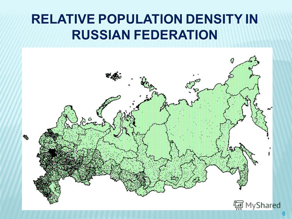 RELATIVE POPULATION DENSITY IN RUSSIAN FEDERATION 6