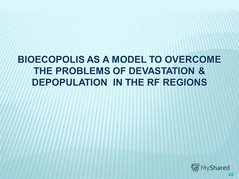 BIOECOPOLIS AS A MODEL TO OVERCOME THE PROBLEMS OF DEVASTATION & DEPOPULATION IN THE RF REGIONS 48