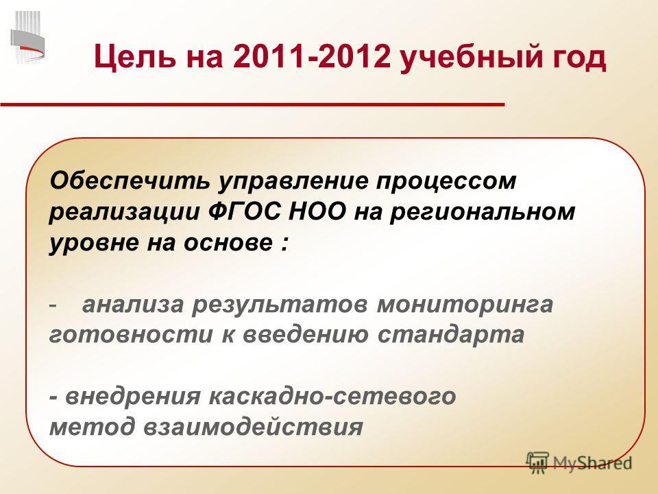 Цель на 2011-2012 учебный год Обеспечить управление процессом реализации ФГОС НОО на региональном уровне на основе : -анализа результатов мониторинга готовности к введению стандарта - внедрения каскадно-сетевого метод взаимодействия