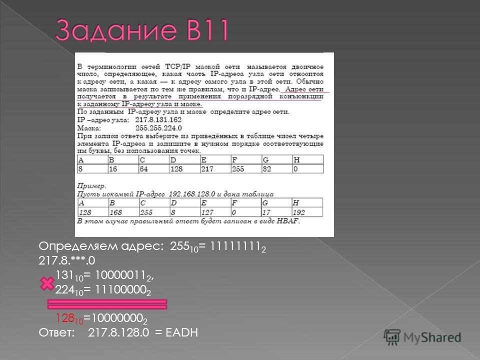 Определяем адрес: 255 10 = 11111111 2 217.8.***.0 131 10 = 10000011 2, 224 10 = 11100000 2 128 10 =10000000 2 Ответ: 217.8.128.0 = EADH