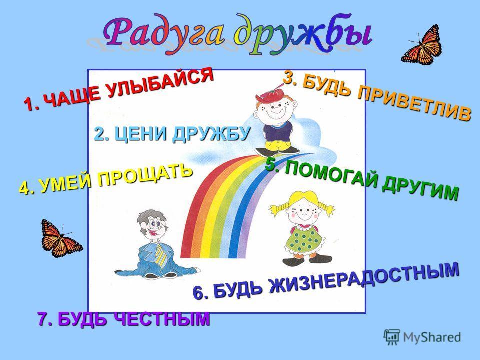 1. ЧАЩЕ УЛЫБАЙСЯ 3. БУДЬ ПРИВЕТЛИВ 2. ЦЕНИ ДРУЖБУ 4. УМЕЙ ПРОЩАТЬ 5. ПОМОГАЙ ДРУГИМ 6. БУДЬ ЖИЗНЕРАДОСТНЫМ 7. БУДЬ ЧЕСТНЫМ
