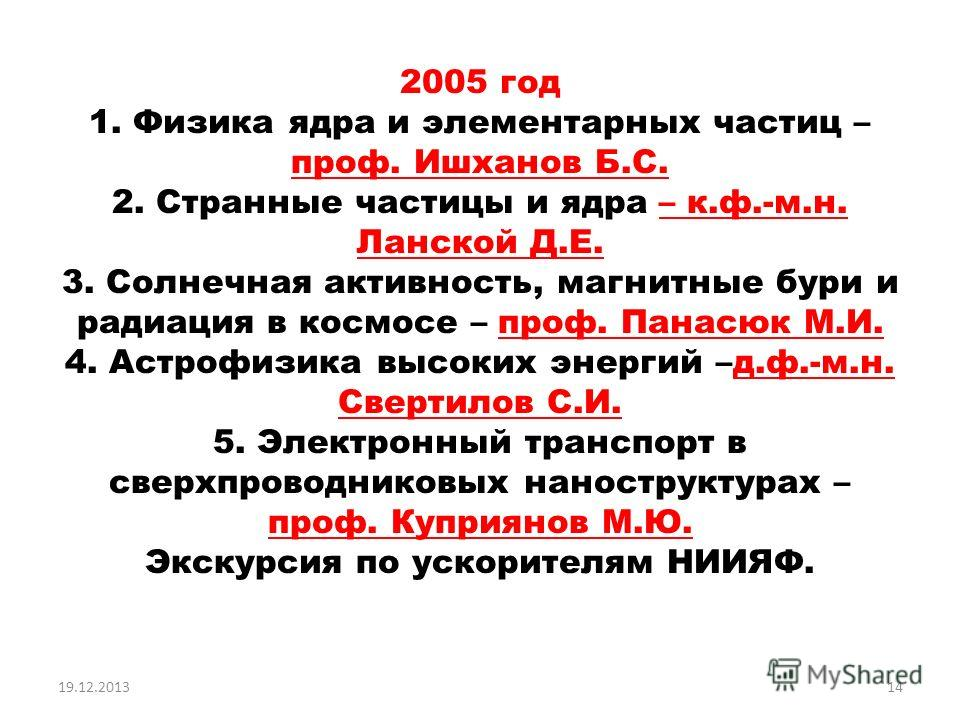 2005 год 1. Физика ядра и элементарных частиц – проф. Ишханов Б.С. 2. Странные частицы и ядра – к.ф.-м.н. Ланской Д.Е. 3. Солнечная активность, магнитные бури и радиация в космосе – проф. Панасюк М.И. 4. Астрофизика высоких энергий –д.ф.-м.н. Свертил
