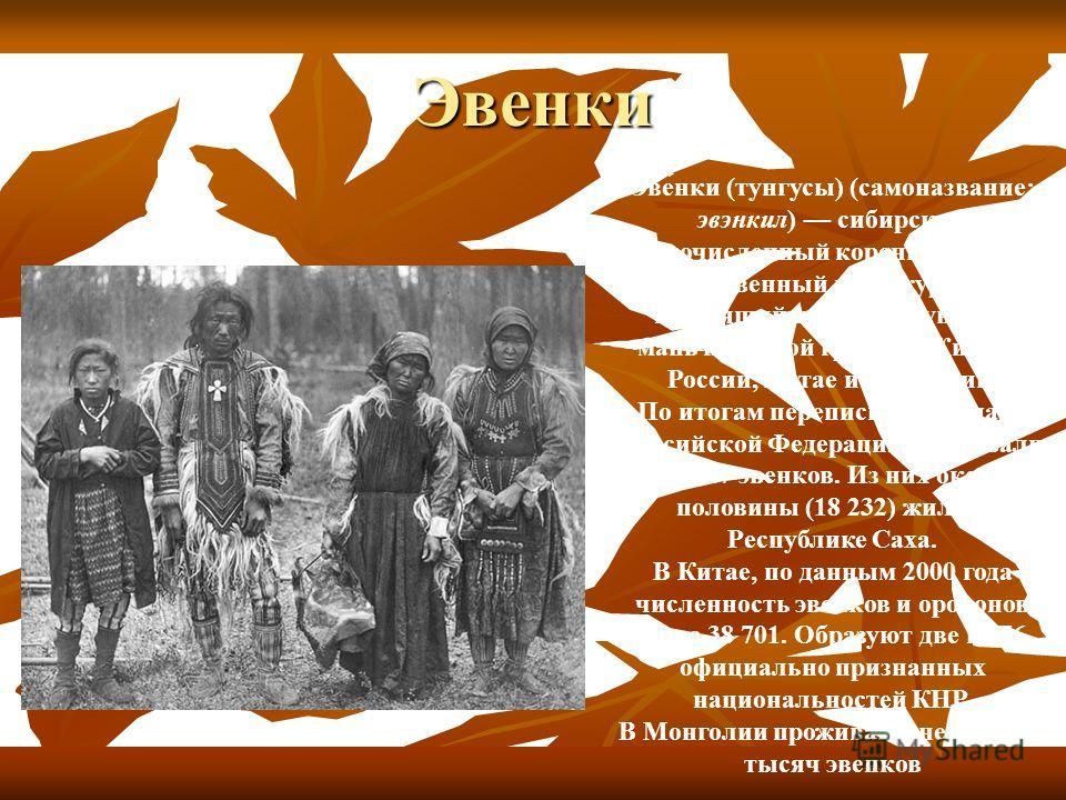 Эвенки Эве́нки (тунгусы) (самоназвание: эвэнкил) сибирский малочисленный коренной народ, родственный манчжурам и говорящий на языке тунгусо- маньчжурской группы. Живут в России, Китае и Монголии. По итогам переписи 2002 года, в Российской Федерации п