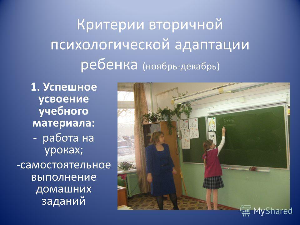 Критерии вторичной психологической адаптации ребенка (ноябрь-декабрь) 1. Успешное усвоение учебного материала: - работа на уроках; -самостоятельное выполнение домашних заданий